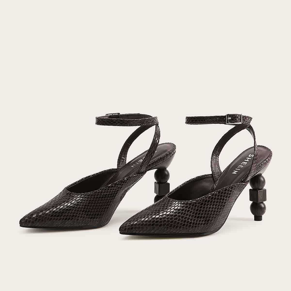 Snakeskin Point Toe Heels