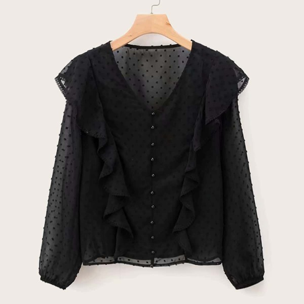 Swiss Dot Ruffle Trim Button Through Blouse, Black