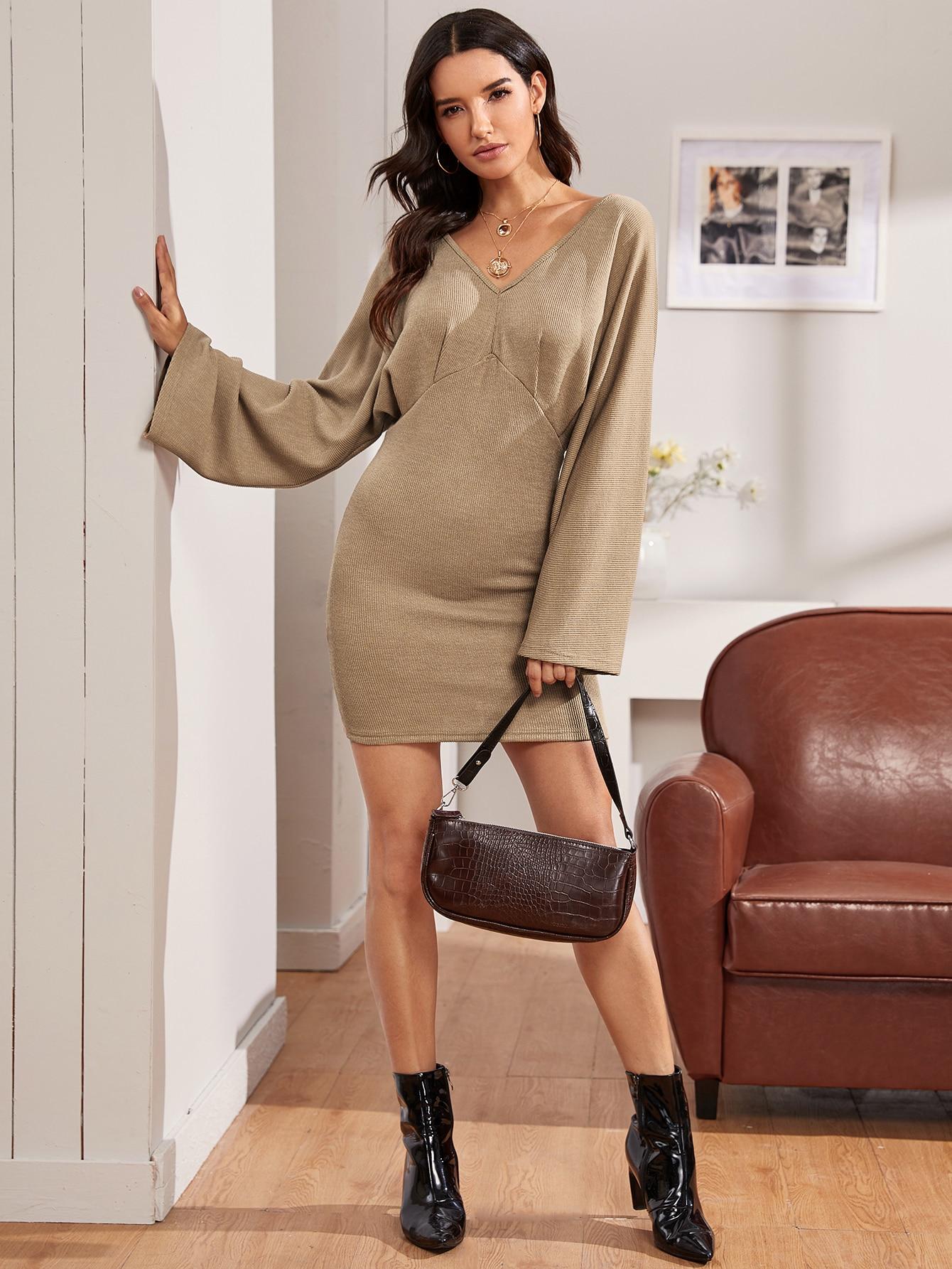 SHEIN / Tie Back Batwing Sleeve Bodycon Dress