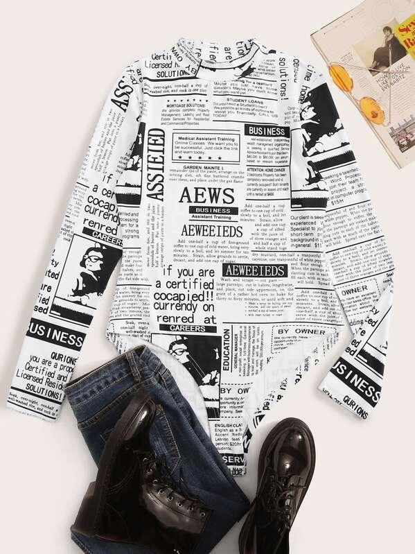 Mock Neck Newspaper Print Bodysuit