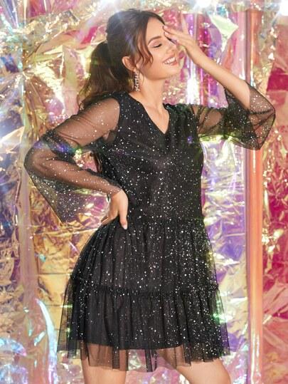 SheIn / V-neck Glitter Mesh A-line Dress