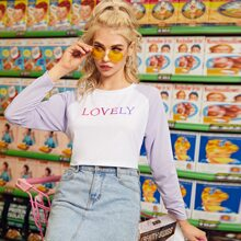 Letter Graphic Color-block Crop Baseball Tee