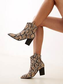 Point Toe Snakeskin Zip Back Chunky Boots