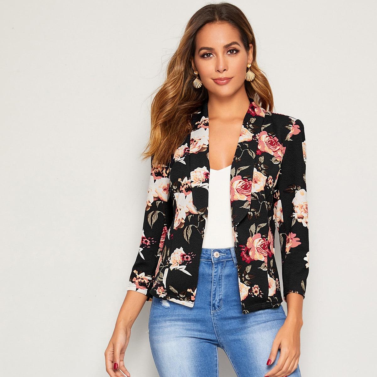 Пиджак с цветочным принтом и шалевым вырезом