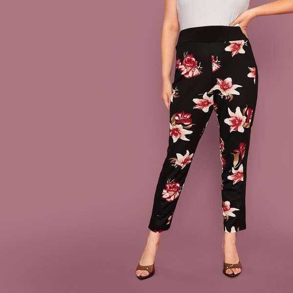 Plus Wide Waistband Floral Print Leggings, Black