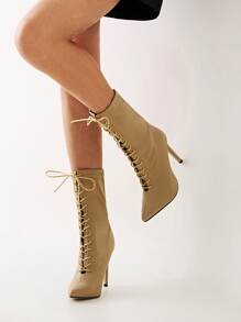 Lace-up Front Point Toe Stiletto Boots