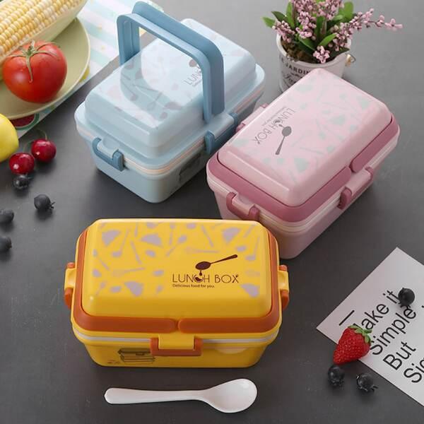 1pc Cartoon Portable Multi Layer Lunch Box