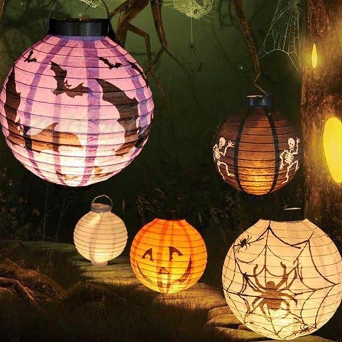 1pc draagbare decoratieve lantaarn met Halloween-print