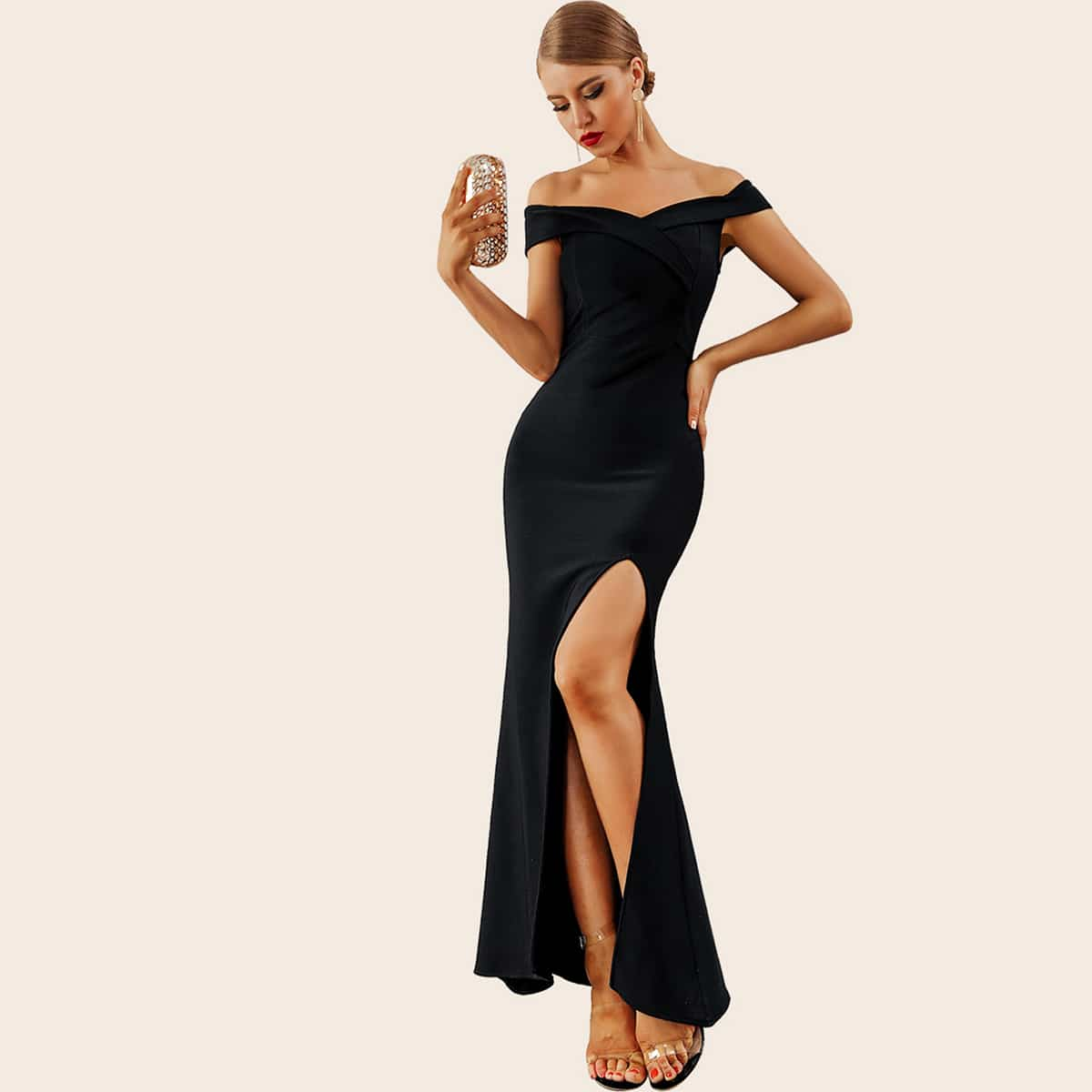 Adyce Split Thigh Bardot Bodycon Prom Dress