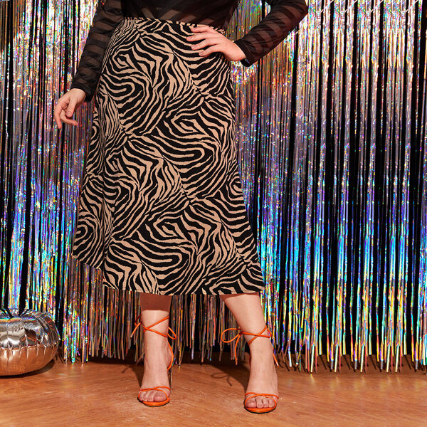 Plus Zebra Striped Straight Skirt