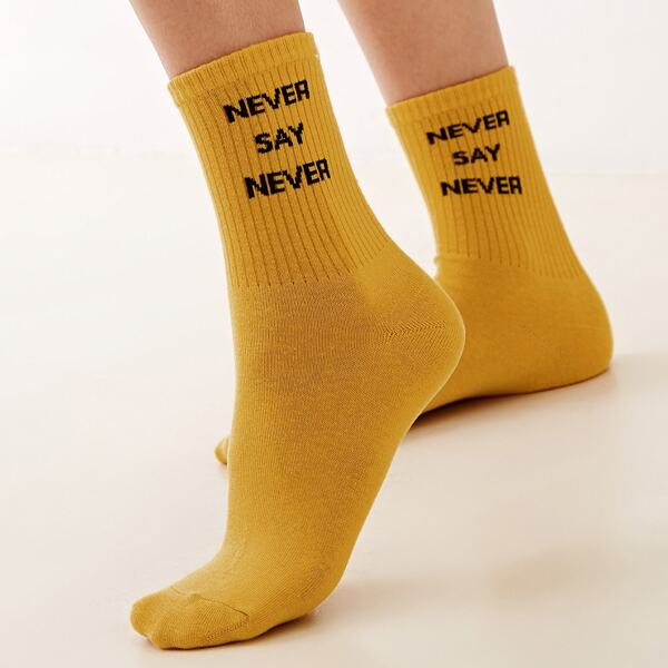 1pair Slogan Embroidery Socks, Yellow