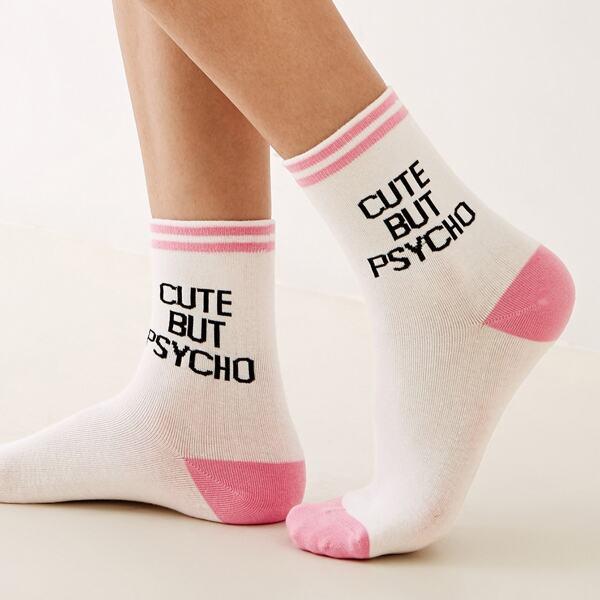 1pair Slogan Embroidery Socks, Multicolor