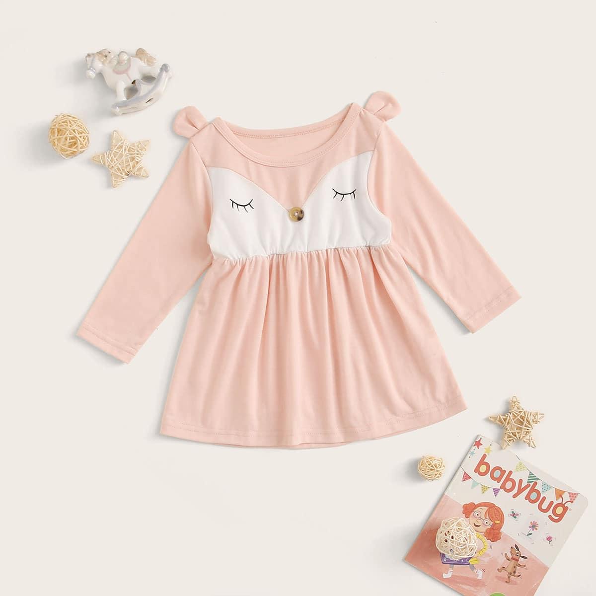 Расклешенное платье с мультяшным принтом для девочек от SHEIN