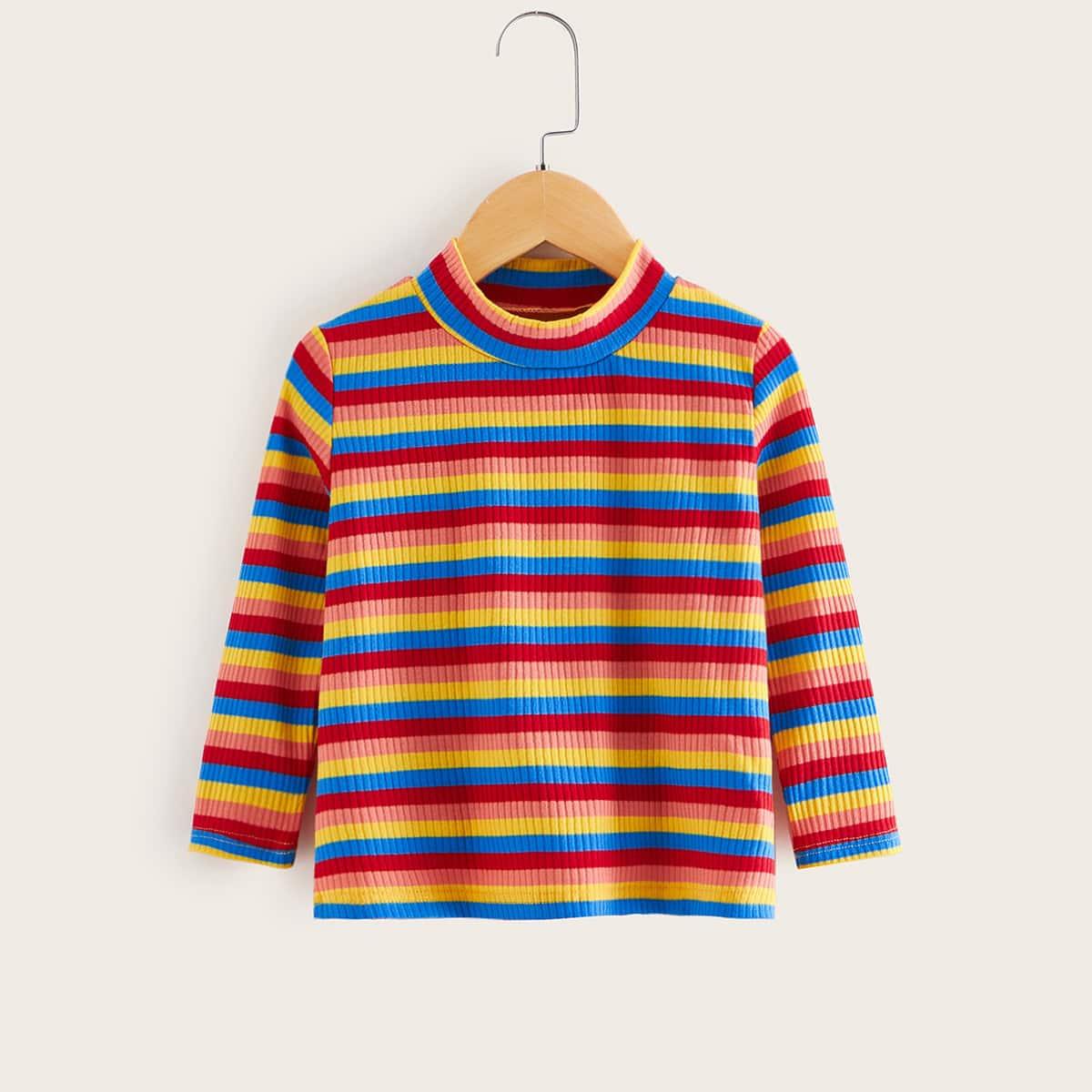 Veel kleurig Casual regenboog streep Shirts kleuters-meisjes Geplisseerde