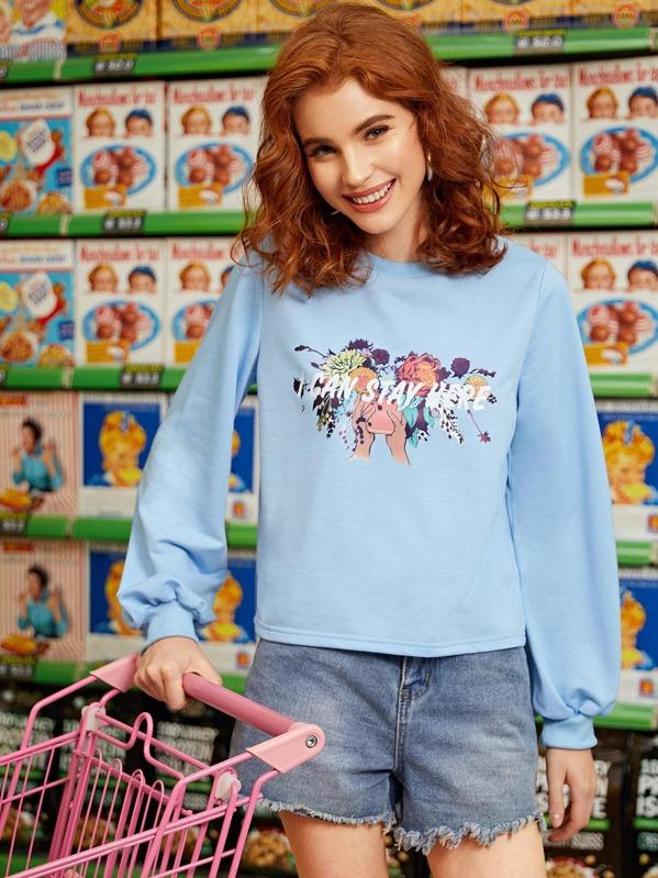 Floral & Slogan Graphic Round Neck Sweatshirt, Nell
