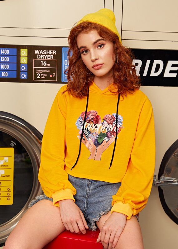 Floral & Letter Graphic Drawstring Hoodie, Nell