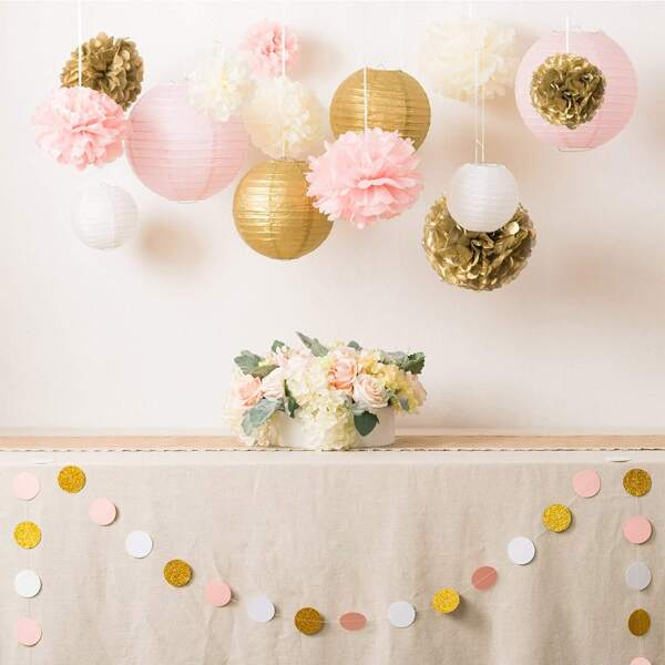 2M Glitter Circle & Heart Decorative Banner