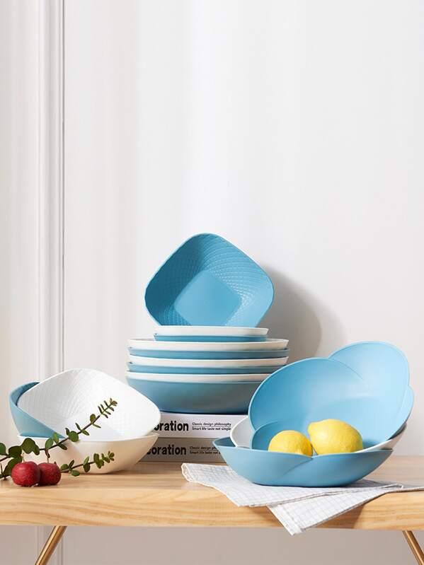 1pc Solid Color Plastic Fruit Plate
