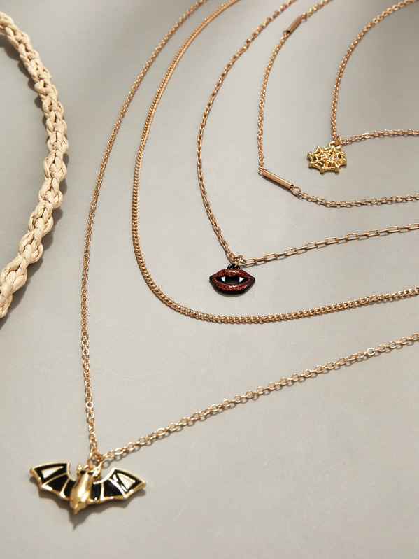 1pc Bat & Spider Web Charm Layered Necklace, Gold