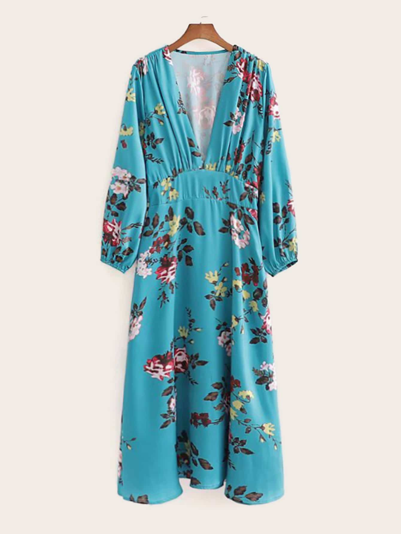 Floral Print Plunging Neck Dress