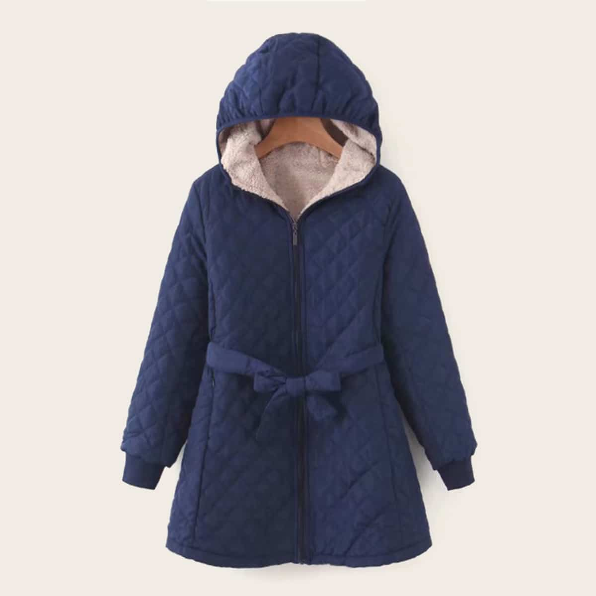 Zip Up Teddy Lined Belted Hooded Puffer Coat