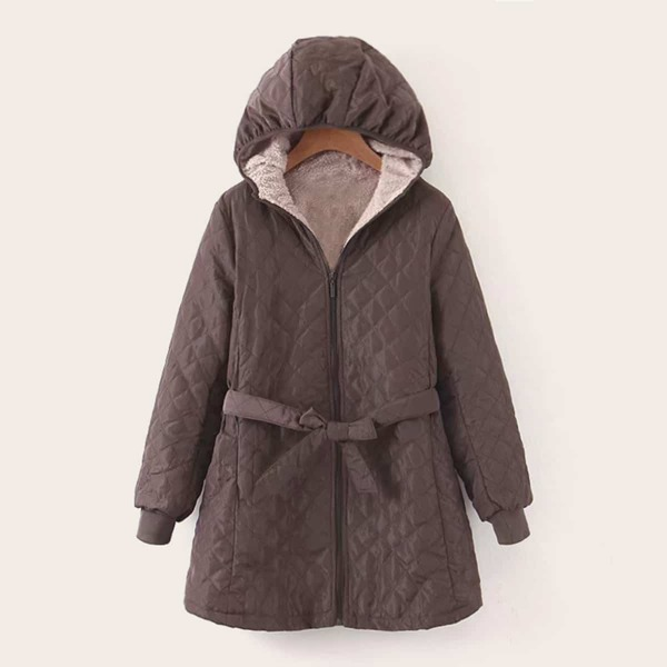 Zip Up Teddy Lined Belted Hooded Puffer Coat, Brown