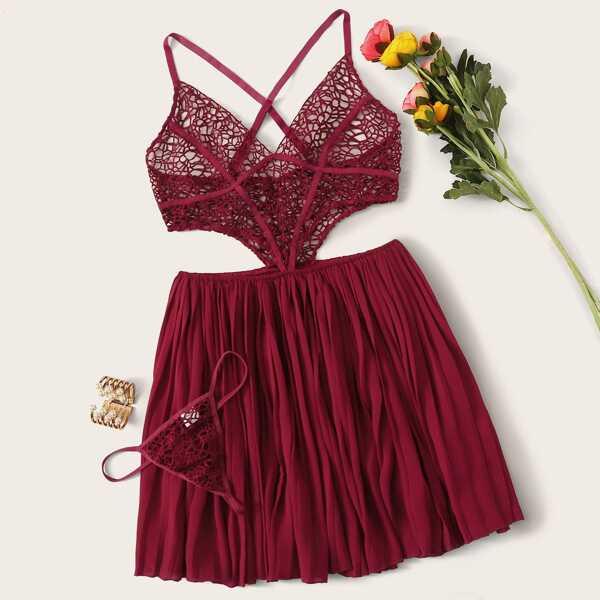 Crisscross Cut-out Crochet Dress With Thong, Burgundy