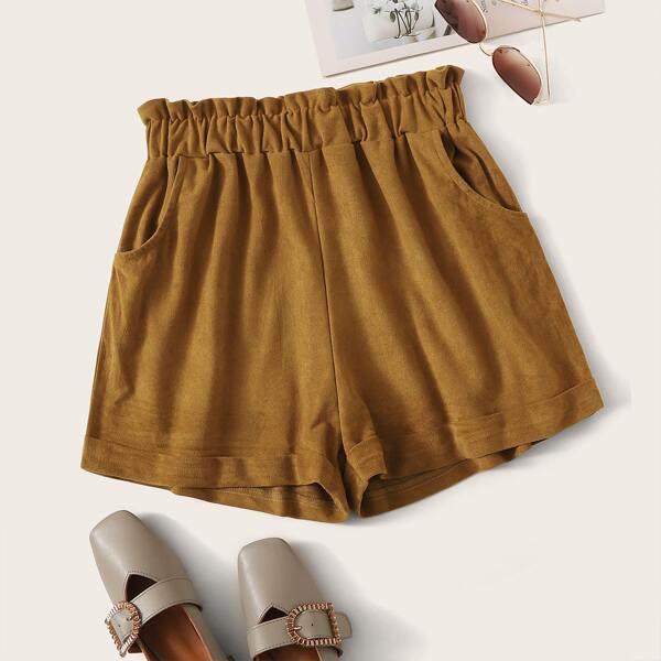 Paperbag Waist Suede Straight Shorts