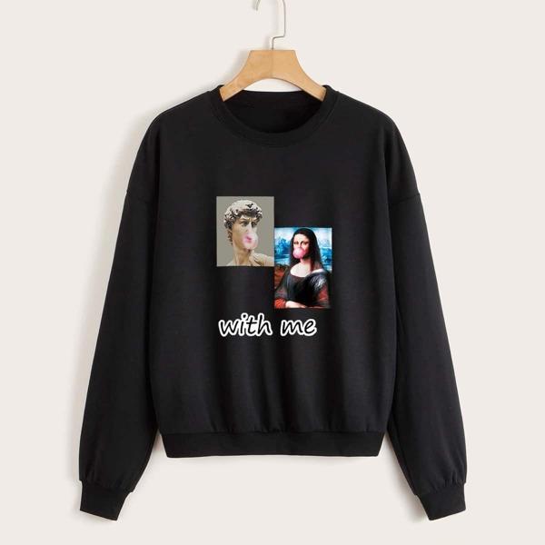 Figure & Letter Graphic Drop Shoulder Sweatshirt, Black
