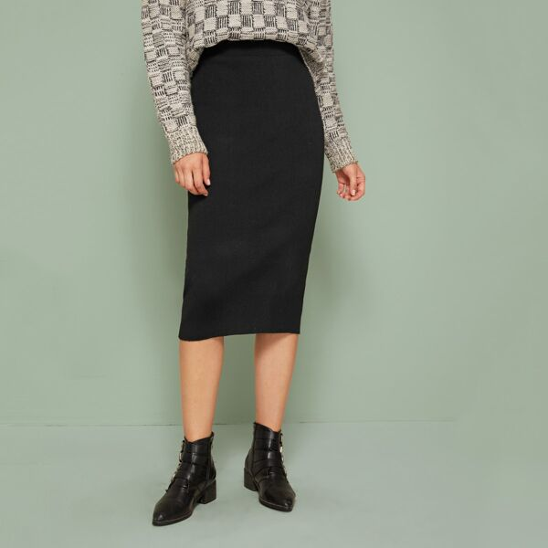 Ribbed Knit Midi Sweater Skirt