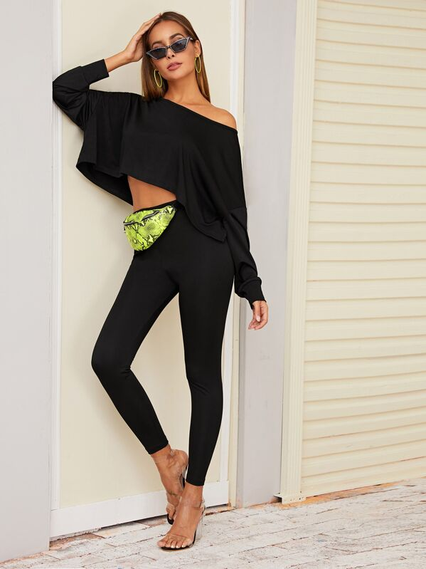 Batwing Sleeve Crop Top & Leggings Without Bag, Giulia