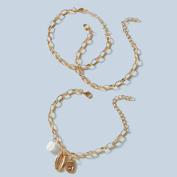 3pcs Shell Charm Chain Bracelet Set, Gold