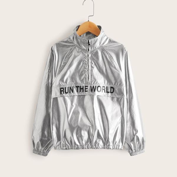 Girls Zip Half Placket Slogan Graphic Metallic Jacket