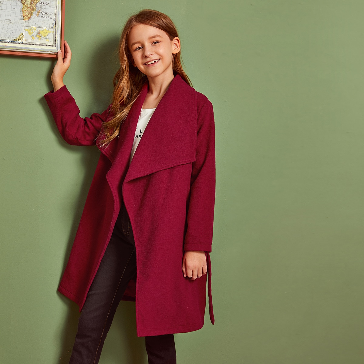 Пальто на запах с поясом для девочек от SHEIN