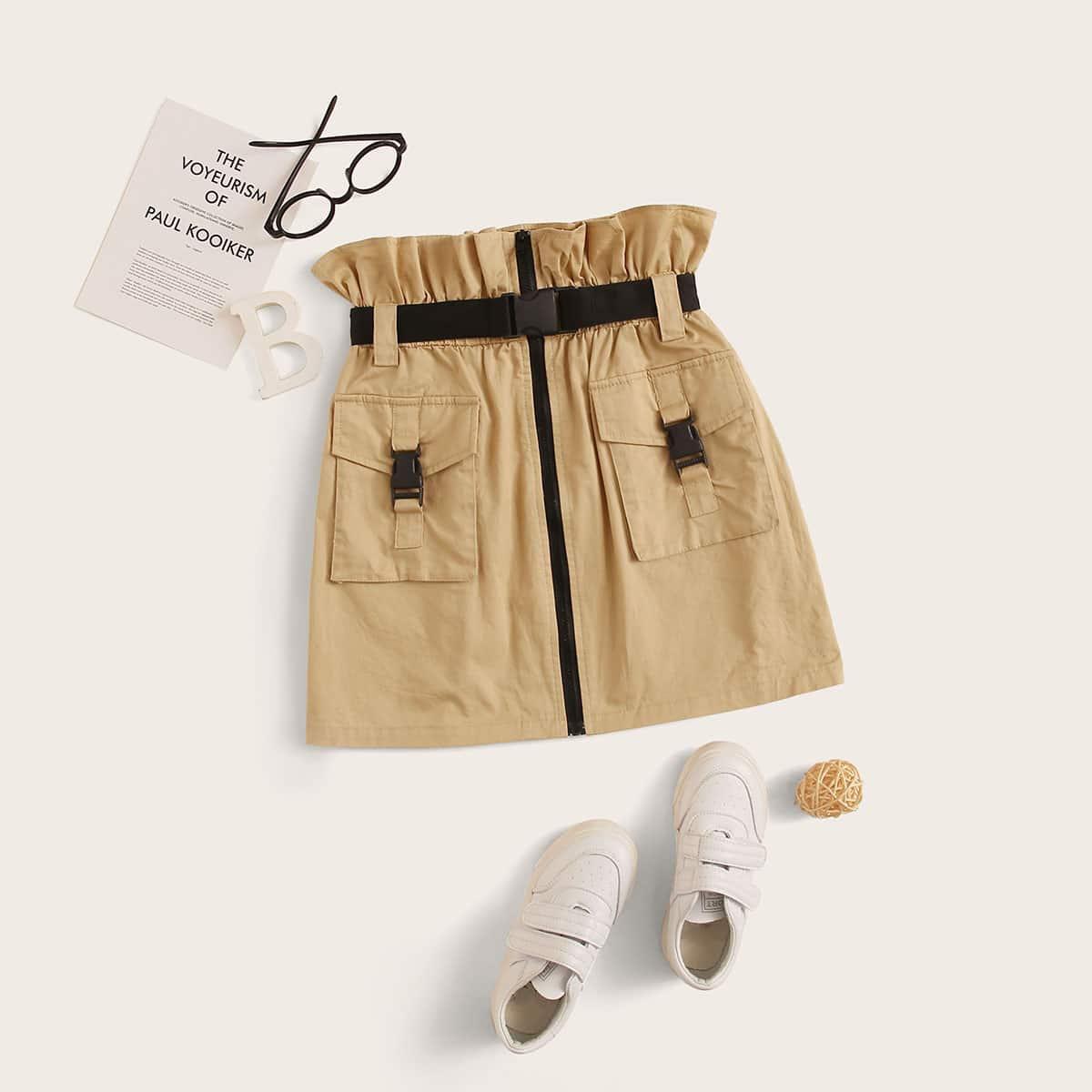 Юбка с присборенной талией и поясом для девочек от SHEIN