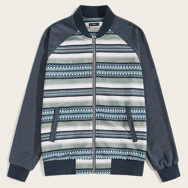 Men Zip Up Tribal Print Raglan Sleeve Bomber Jacket