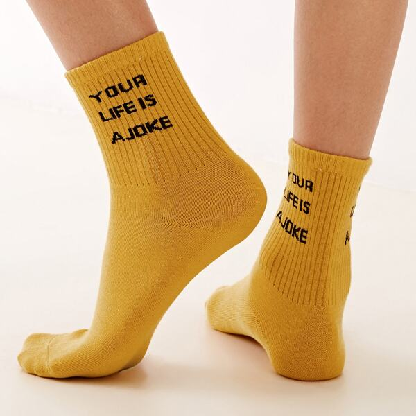 1pair Slogan Graphic Socks, Yellow