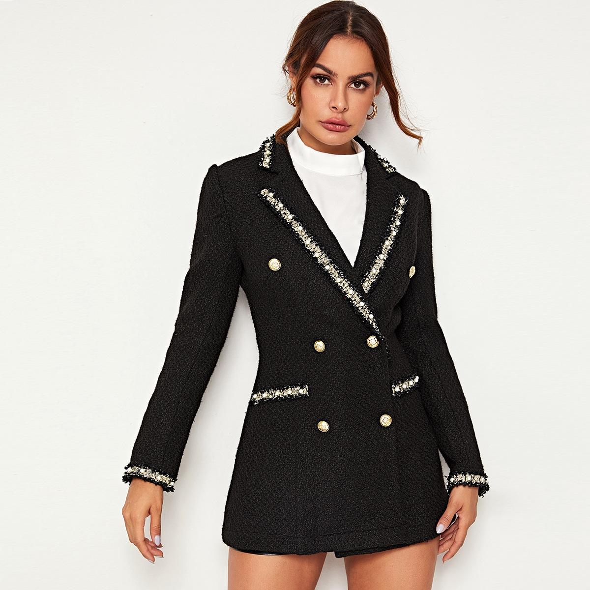 Твидовый пиджак с контрастной отделкой и жемчугом от SHEIN