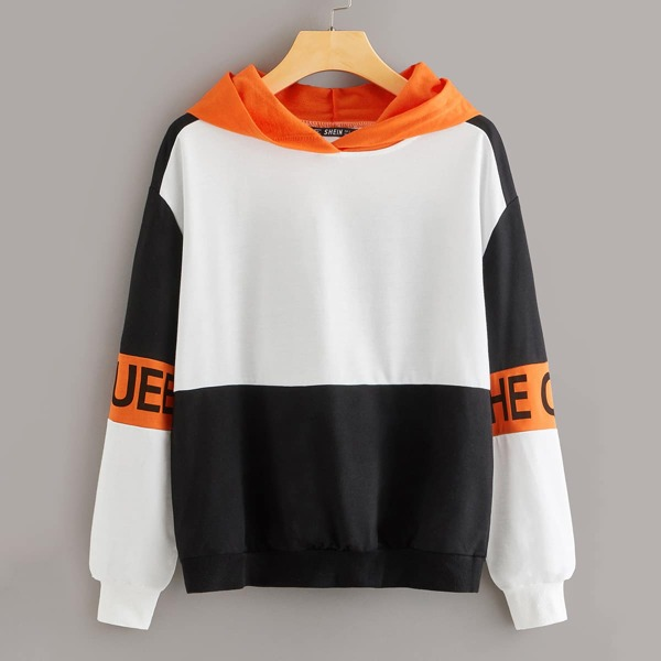 Neon Panel Letter Graphic Colorblock Hoodie
