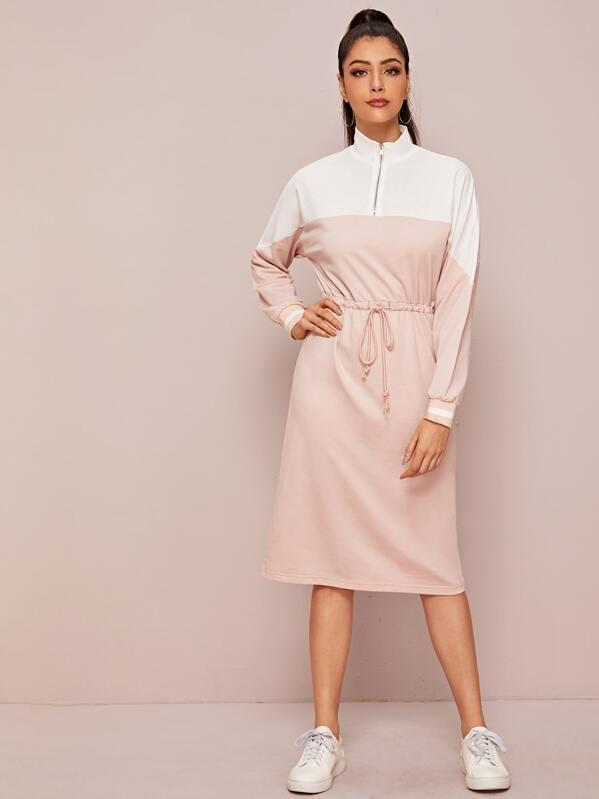 Zip Half Placket Two Tone Drawstring Waist Sweatshirt Dress, Multicolor, Taina