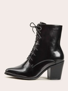 Point Toe Lace Up Stacked Heel Boots