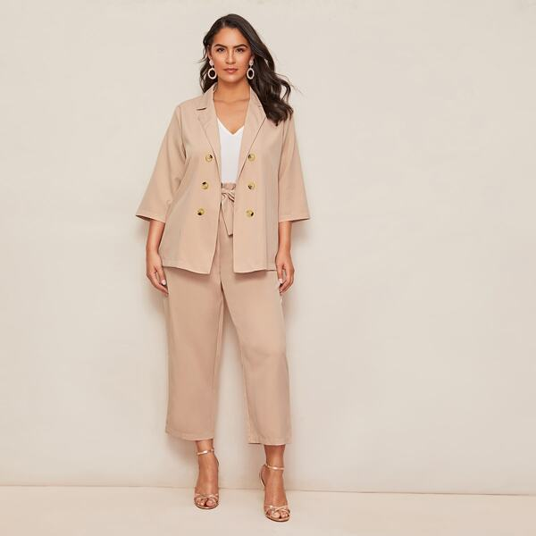 Plus Solid Double Breasted Blazer & Paperbag Waist Pants, Beige