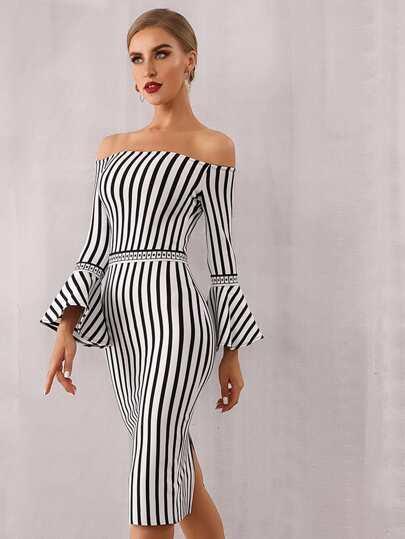 SheIn / Adyce Striped Flounce Sleeve Bardot Bandage Dress