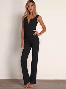Joyfunear Notched Neckline Straight Leg Jumpsuit