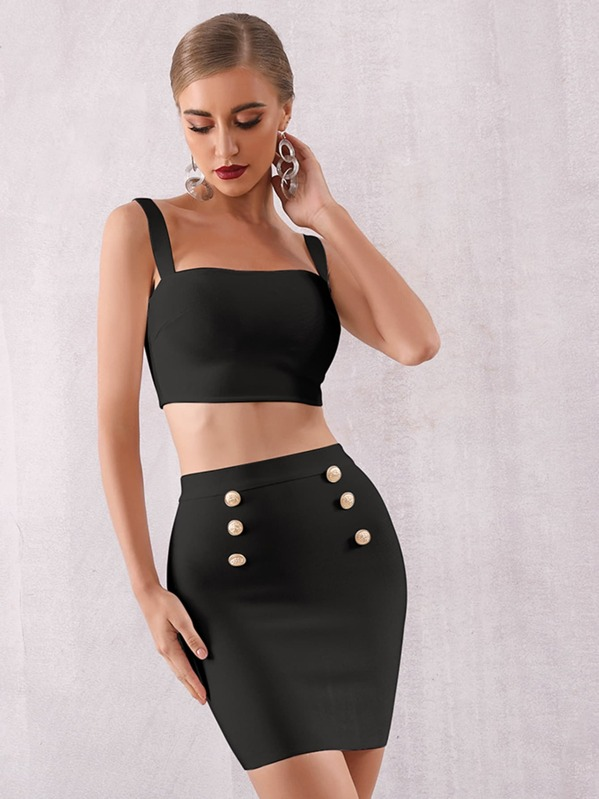 Adyce Zip Back Crop Cami & Double Button Skirt Set