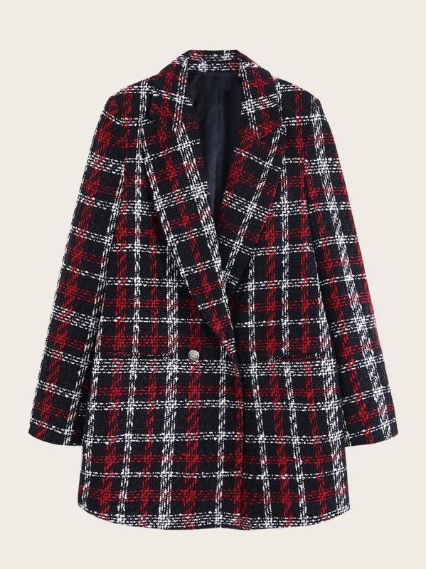 Button Front Plaid Tweed Blazer
