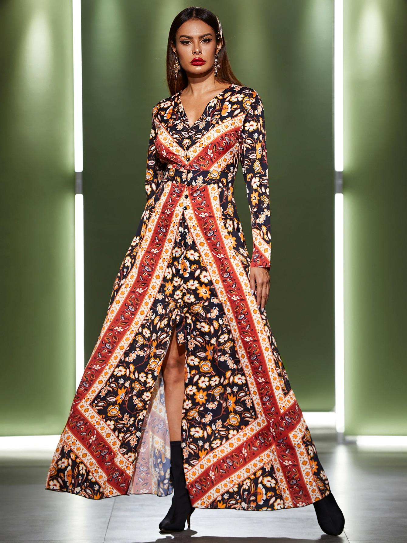 Длинное платье с цветочным принтом и разрезом