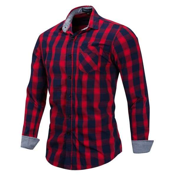 Men Gingham Patched Pocket Button Shirt, Red