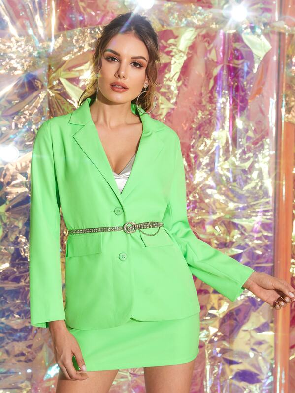 Neon Green Lapel Blazer & Bodycon Skirt Without Belt, Vlada