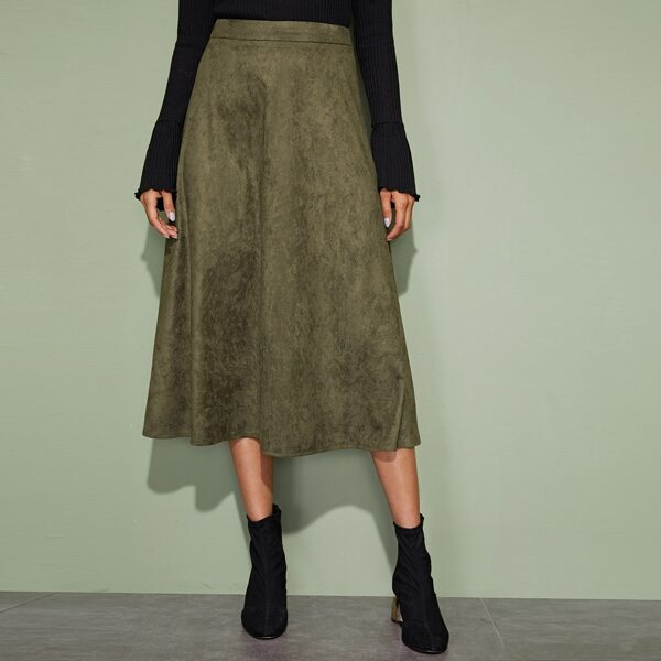 Zip Back Suede A-line Skirt, Army green